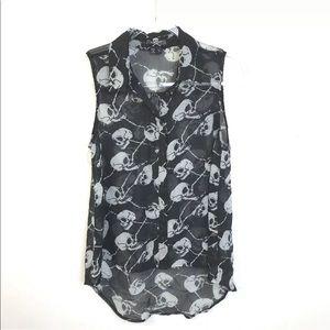 Royal Bones Skull Shirt Goth Sleeveless Novelty